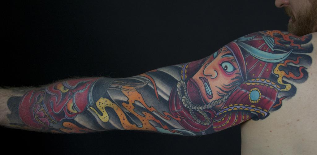 Samurai oni mask sleeve | Mark Thompson Tattoo