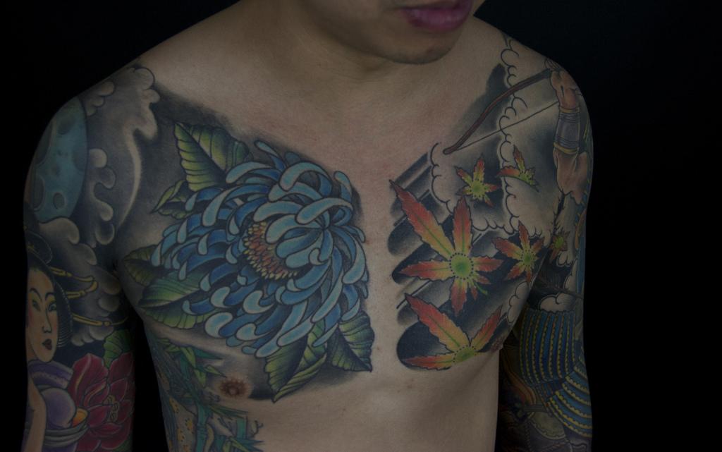 Japanese geisha and samurai sleeve | Mark Thompson Tattoo
